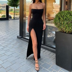 2020 summer women bodycon sling long dress sleeveless backless elegant party outfits sexy club clothes